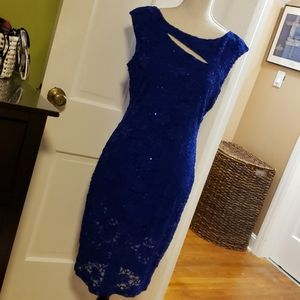 Roz & Ali periwinkle sequence & lace dress